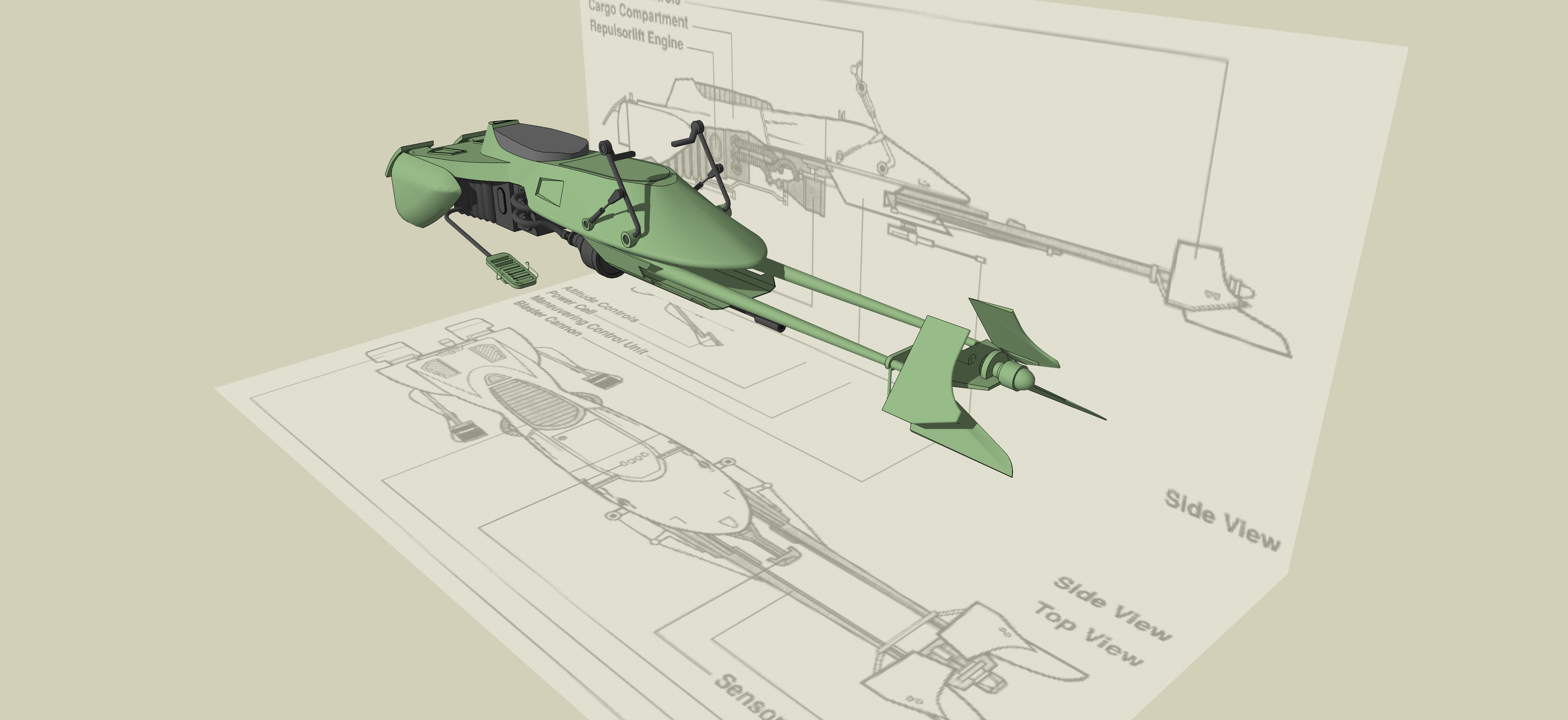 Detailed Process for Creating model of Shuttle, Speeder and Watch