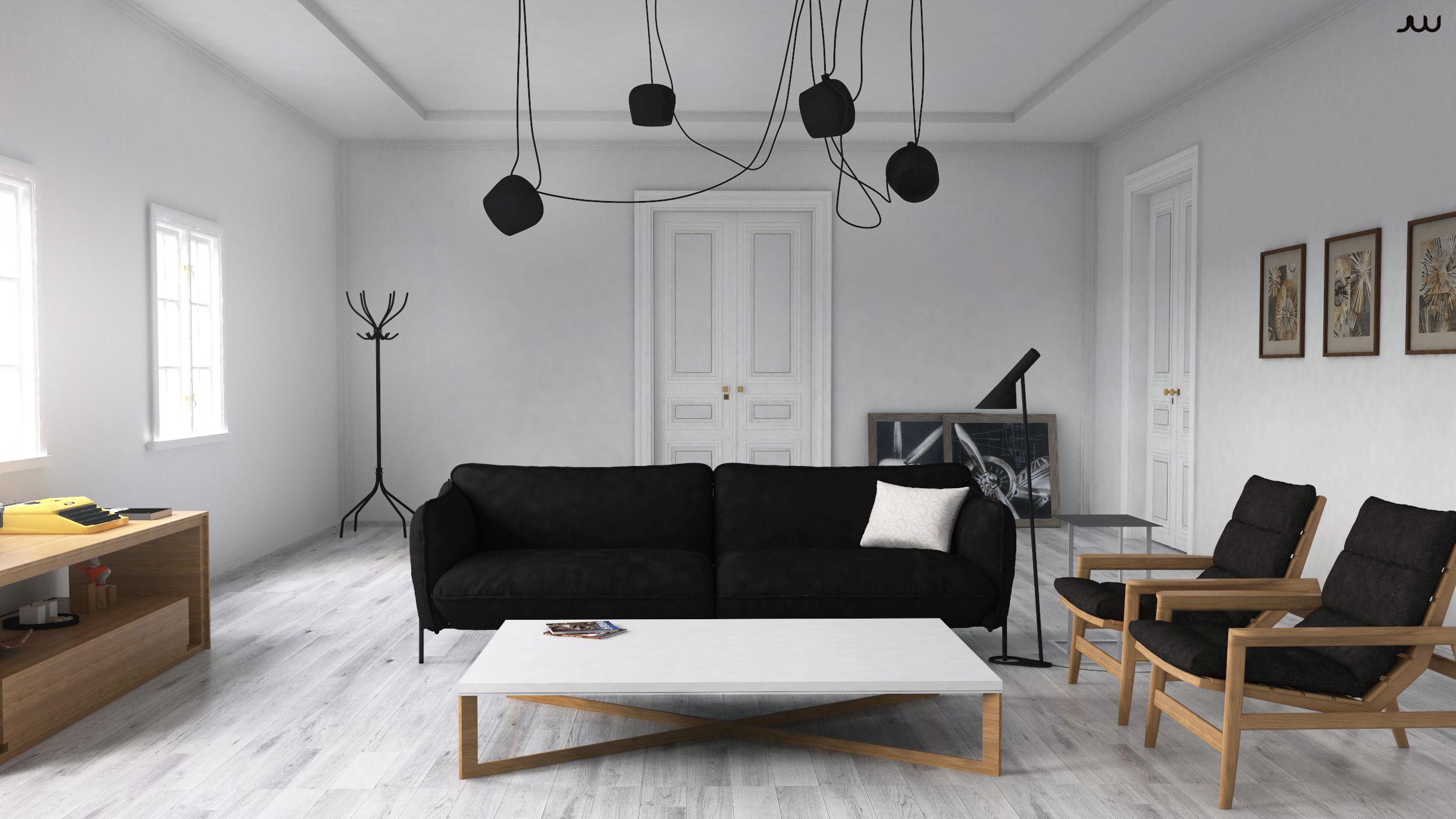 Making of scandinavian interior with sketchup vray and photoshop - Scandinavian interior ...