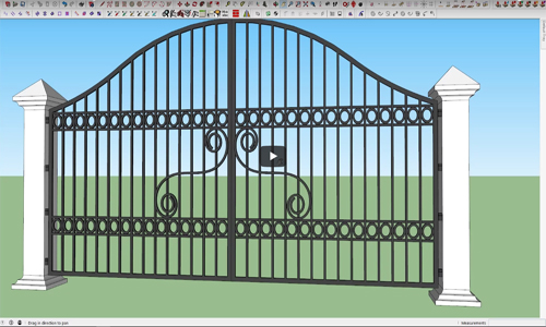 How to design a modern steel gate with sketchup make 2016