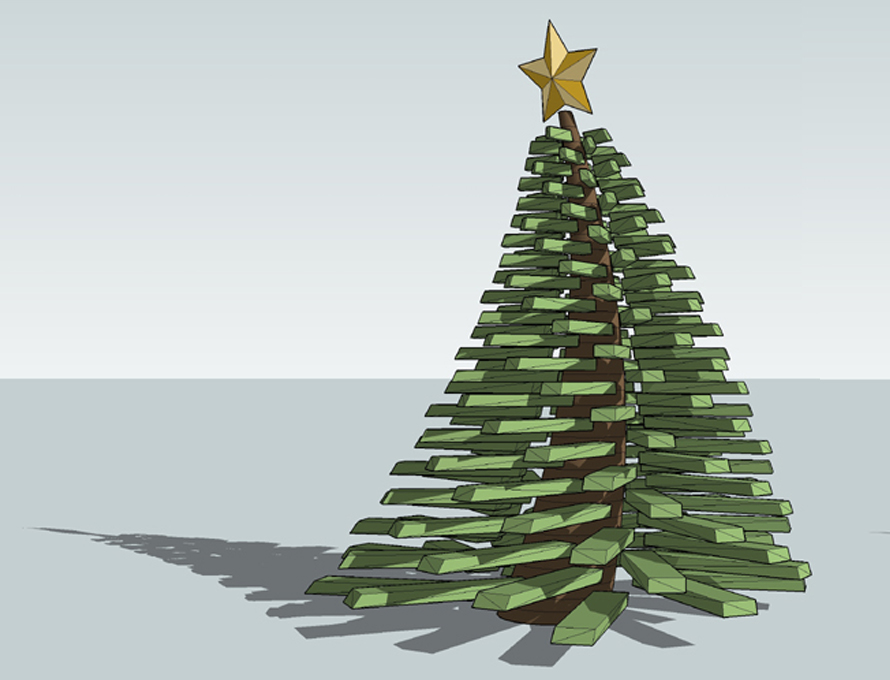 Modeling a Face Me Christmas Tree in SketchUp