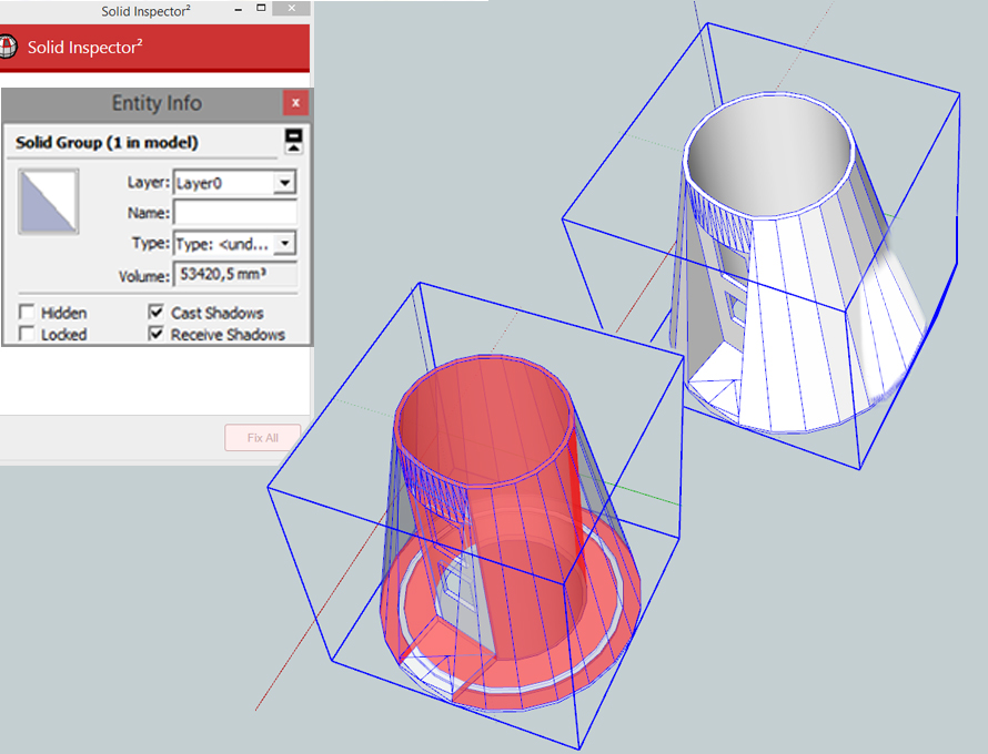 Using SketchUp's CleanUp3 and Solid Inspetcor2 tools